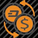 cash, dash, money, transfer icon