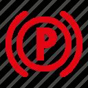 dashboard, hand brake, indicator, parking indicator, warning icon
