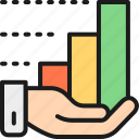 analysis, analytics, chart, data, growth, hand, technology icon
