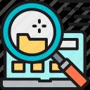 analysis, analytics, data, file, laptop, search, technology