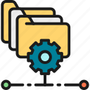 analytics, data, folder, gear, management, project, technology