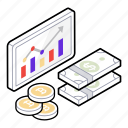 dollar graphic, dollar growth, finance growth, financial presentation, infographics icon