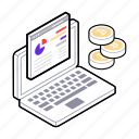 business analysis, financial website, money report, sales chart, sales report icon