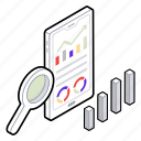 data analysis, data finding, data research, infographic, statistic research icon