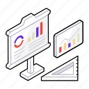 business demonstration, data representation, graph display, graph presentation, graphical presentation icon