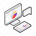 business demonstration, data report, graphical presentation, presentation, presentation report icon
