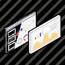 data representation, online analytics, statistical representation, web page analysis, web page statistics icon