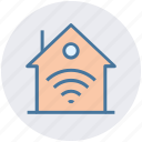 home, home network, house, internet, signals, wifi icon
