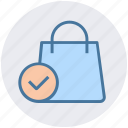 accept, bag, gift bag, hand bag, money bag, shopping bag icon