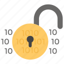 data access, insecure data, lock unlocked, unlocked data, unlocked padlock icon