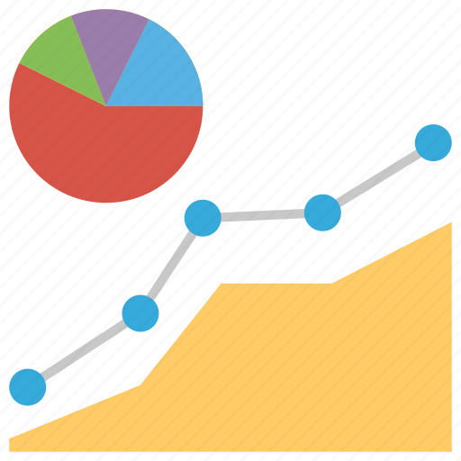 business growth, financial graph, graph analysis, graphical representation, line graph, pie chart icon