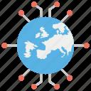 data collection, data explosion, data stream, global connectivity, global data, international data, worldwide information icon