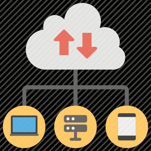 cloud analysis, cloud computing, cloud data sharing, cloud hosting, cloud infrastructure, cloud networking icon