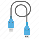 data cable, data wire, network cable, serial connector, usb cable icon
