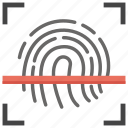 access control, biometric fingerprint, biometric identification, biometric technology, fingerprint scan icon