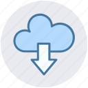 cloud and download sign, cloud computing, cloud download, cloud downloading, cloud network icon