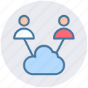 cloud, cloud computing, computing, traffic, two, users icon