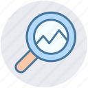 analysis, bar chart search, magnifying, search analytics icon