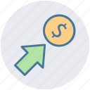 arrow, coin, currency, dollar, money icon