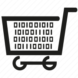 binary, data, information, shopping cart icon