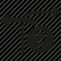 arrow, decision, direction, problem icon