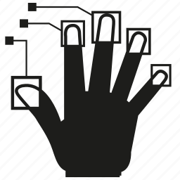 analysis, analytics, finger print, hand, scan icon