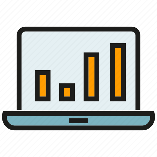 analytics, chart, computer, data, graph, laptop, stats icon