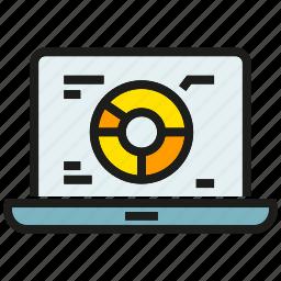 analytics, data, graph, laptop, market share, pie chart, stats icon
