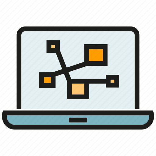 analytics, computer, connect, data, laptop, link, stats icon