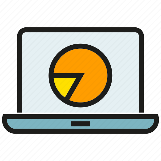 analytics, chart, data, graph, laptop, pie chart, stats icon