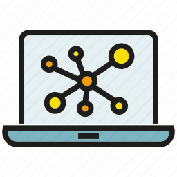 analytics, computer, connection, data, laptop, link, share icon
