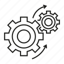arrow, cog, gear, rotate, wheel icon