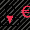 euro, money, profile, sign, user icon