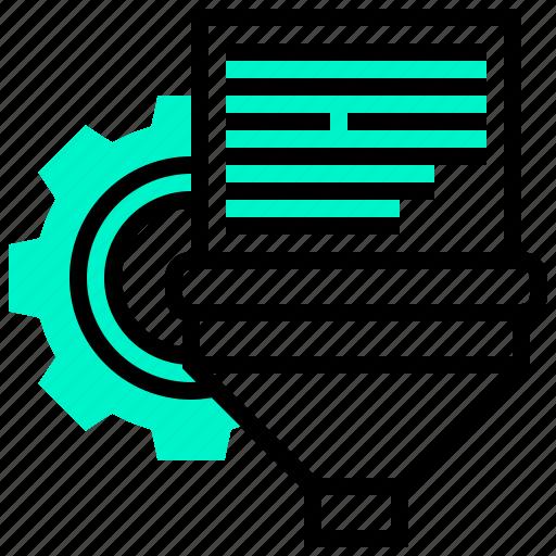 analysis, data, filter, information, process icon