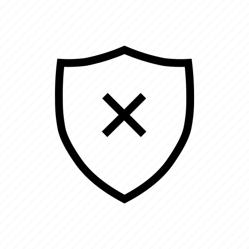 blocked, data, protection, security, shield, weak icon