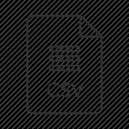 comma separated values, comma separated values file, csv, csv file, csv file icon, csv icon icon