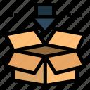 arrow, b38, box, download, save