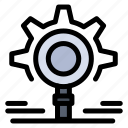 b45, gear, research, search, setting icon