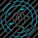 data, head, locked, technology, privacy icon
