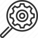box, cog wheel, data, magnifier, search, search optimization icon