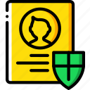data, profile, protect, protected, protection, security icon