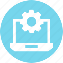 cogwheel, gear, laptop, laptop setting, notebook, options icon