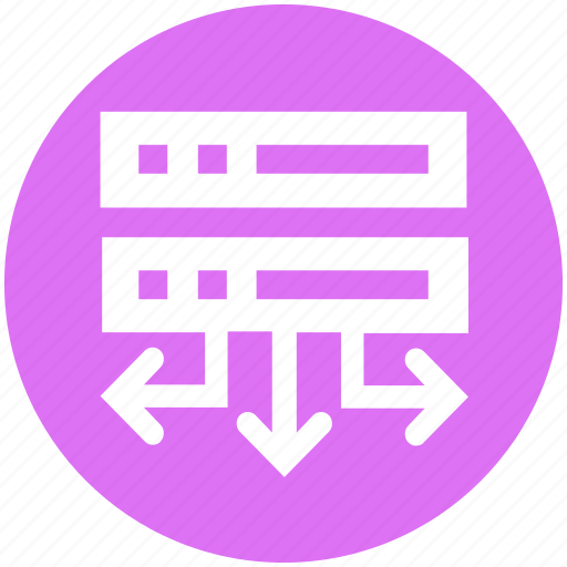 arrows, data science, database, hosting, network icon
