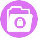 data, folder, lock, locked, private, security, storage icon