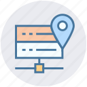 data center, database, hosting, location, mainframe, map icon