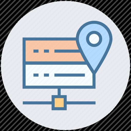 data center, database, hosting, location, mainframe, map icon