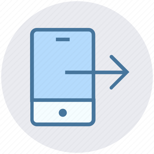 cell phone, data science, mobile, phone, right arrow, smartphone icon