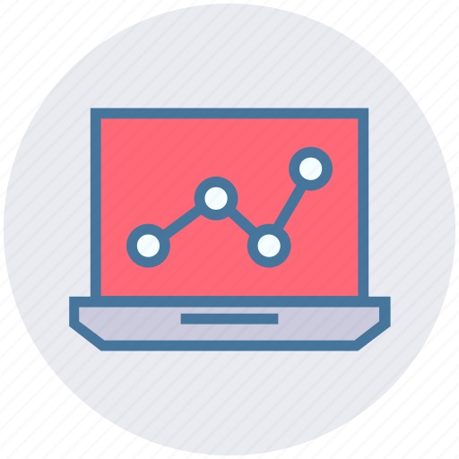chart, data science, database, graph, laptop, notebook icon