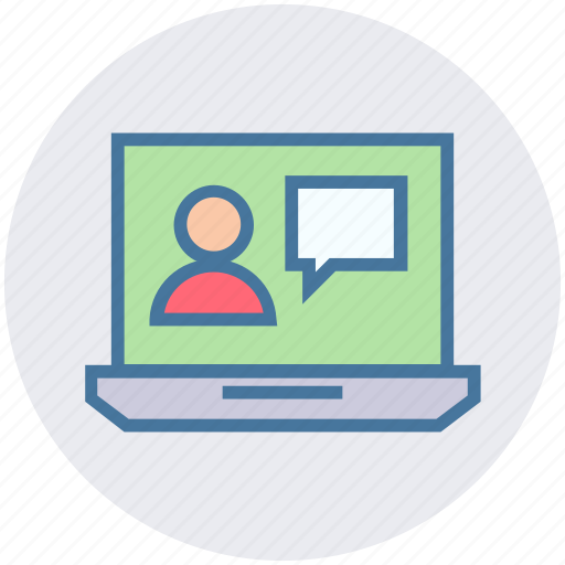 chat, laptop, notebook, talk, user, video chat icon