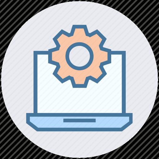cogwheel, gear, laptop, laptop setting, notebook, options icon